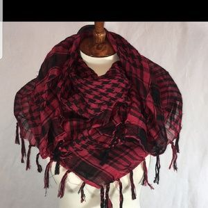 Military shemagh scarf black and red